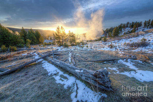 Wall Art - Photograph - Yellowstone Geysers At Sunrise by Twenty Two North Photography