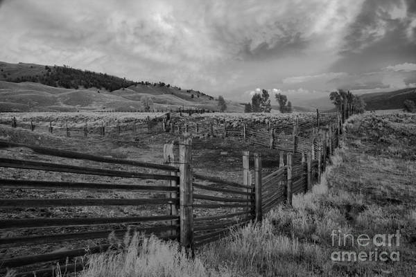 Photograph - Yellowstone Lamar Ranch Sunset Black And White by Adam Jewell