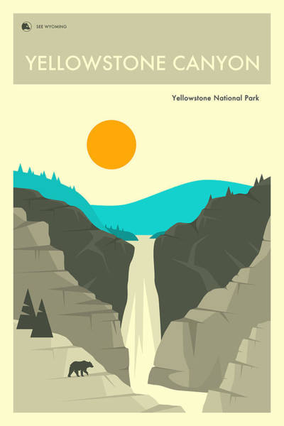 National Park Digital Art - Yellowstone Canyon 2 by Jazzberry Blue