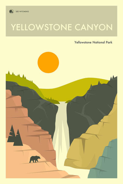 National Park Digital Art - Yellowstone Canyon 1 by Jazzberry Blue