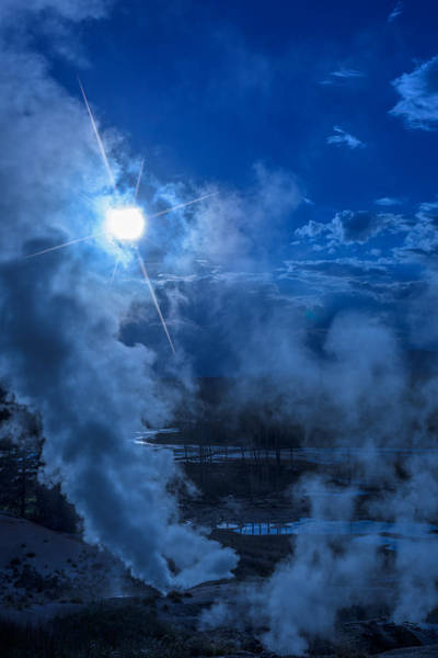 Geysers Photograph - Yellowstone Norris Basin Geyser by Steve Gadomski