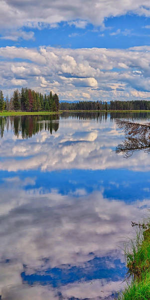 Photograph - Yellowstone River Reflections Triptych Center Panel by Greg Norrell
