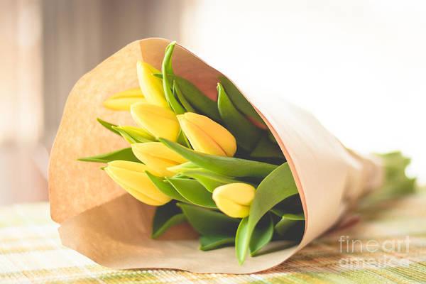 Treen Photograph - Yellow Tulips Bouquet by Cheryl Baxter