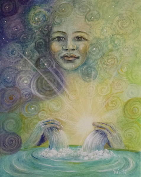 Painting - Yemaya - Water Goddess by Bernadette Wulf