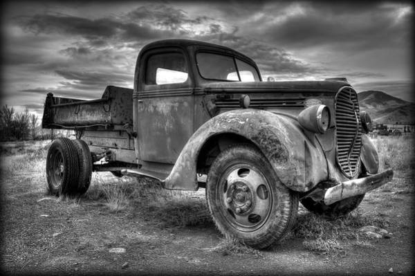 Wall Art - Photograph - Yesteryear Dump Truck Black And White by Michael Morse