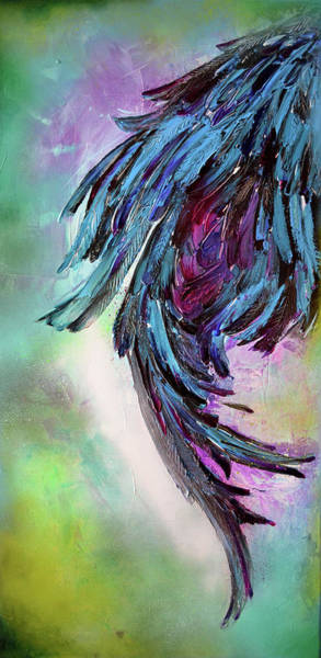 Craw Wall Art - Painting - Yin - Dark Feathers Abstract Painting by Soos Roxana Gabriela