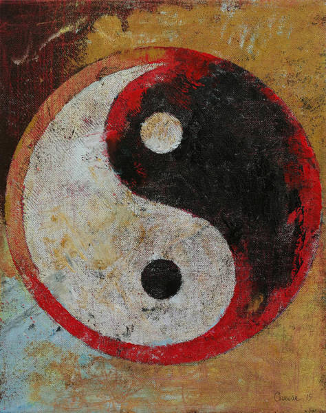 Wall Art - Painting - Yin Yang Red Dragon by Michael Creese