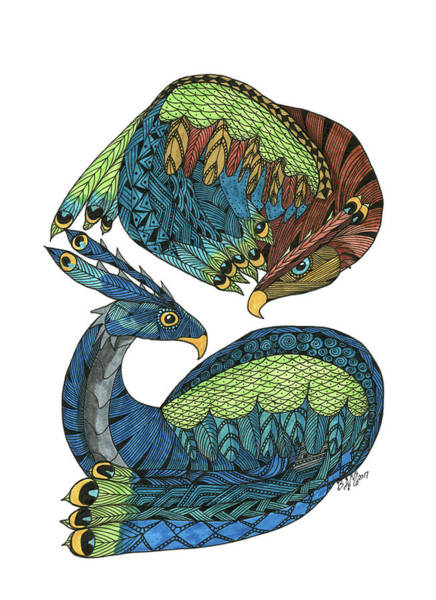 Drawing - Yin Yang Dragons by Barbara McConoughey