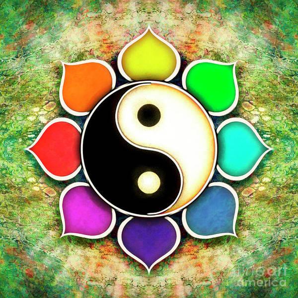 Wall Art - Digital Art - Yin Yang - Flower Rainbow Colors by Dirk Czarnota