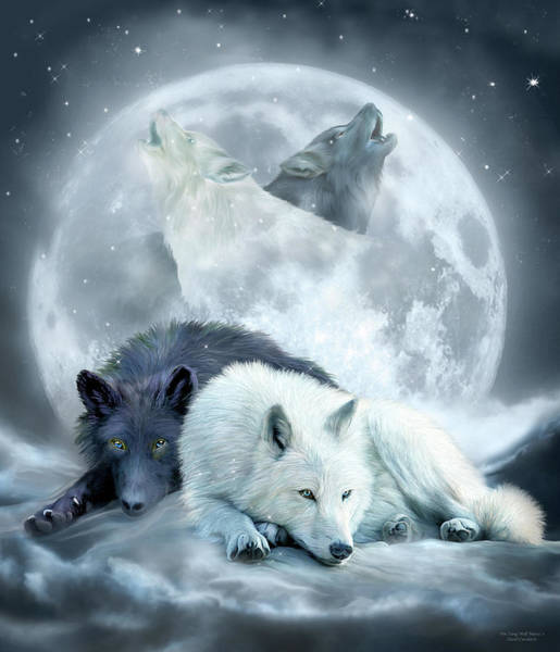 Mixed Media - Yin Yang Wolf Mates 2 by Carol Cavalaris