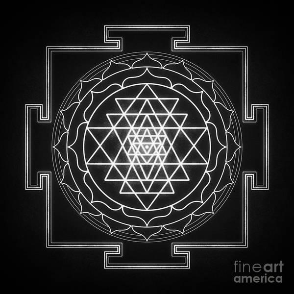 Wall Art - Digital Art - Sri Yantra 11 - Black And White by Dirk Czarnota