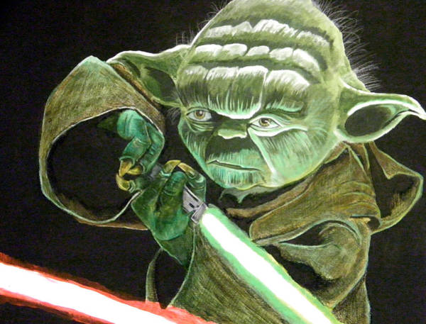 Star Wars Movie Painting - Yoda Fights by Jacob Logan