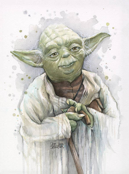 Star Wars Wall Art - Painting - Yoda by Olga Shvartsur