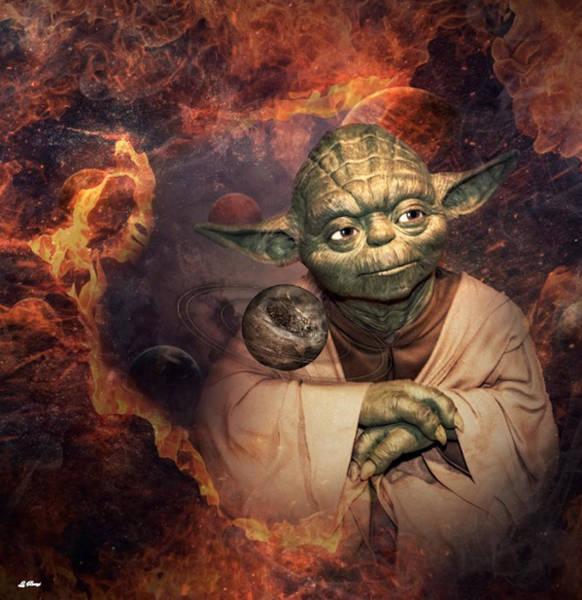 Empire Mixed Media - Yoda Planets by G Berry