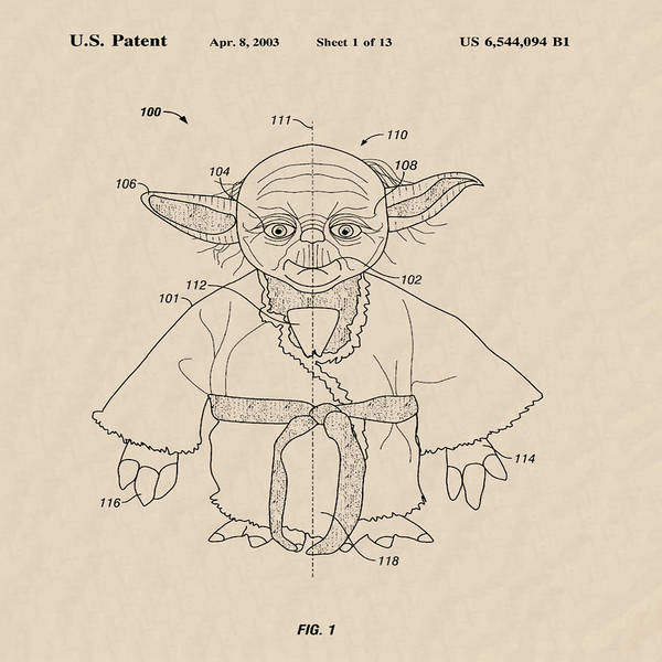 Wall Art - Photograph - Yoda Toy Patent 2003 - Sepia by Bill Cannon