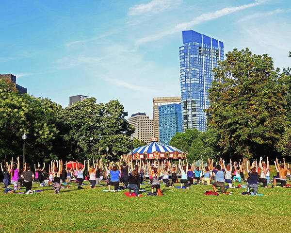 Photograph - Yoga In The Boston Common Boston Ma by Toby McGuire