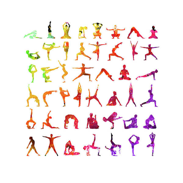 Primary Colors Mixed Media - Yoga Poses  by Gina Dsgn