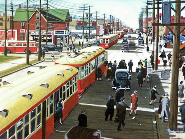 Painting - Yonge And Eglinton 1944 by Kenneth M Kirsch