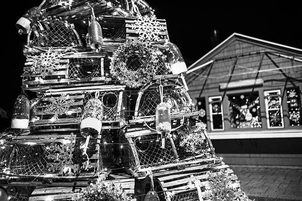 Wall Art - Photograph - York Me Lobster Trap Lighthouse Cape Neddick Nubble Maine Black And White by Toby McGuire