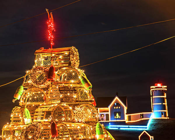 Photograph - York Me Nubble Lighthouse Lobster Trap Christmas Tree Cape Neddick by Toby McGuire