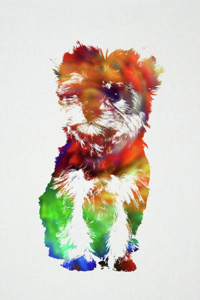 Wall Art - Mixed Media - Yorkie Dog Wild Animals Of The World Watercolor Series On White Canvas 008 by Design Turnpike