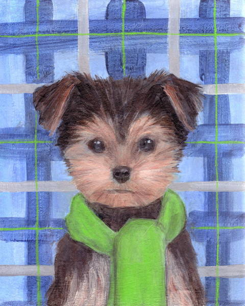 Painting - Yorkie Poo With Scarf by Kazumi Whitemoon