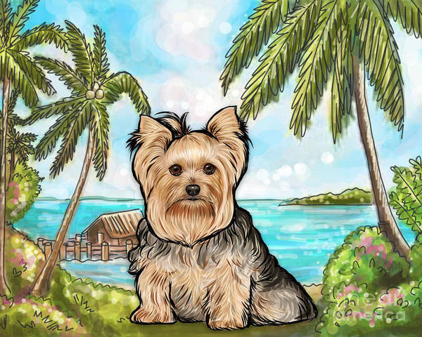 Golden Retriever Digital Art - Yorkie Tropical Beach by Nicole Chen