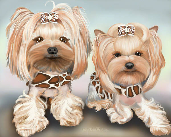 Mixed Media - Yorkies Bindy And Pebbles by Catia Lee