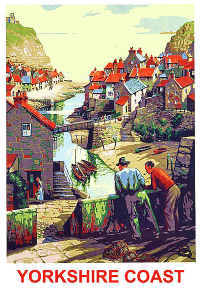 Wall Art - Painting - Yorkshire Coast, England, Travel Poster by Long Shot