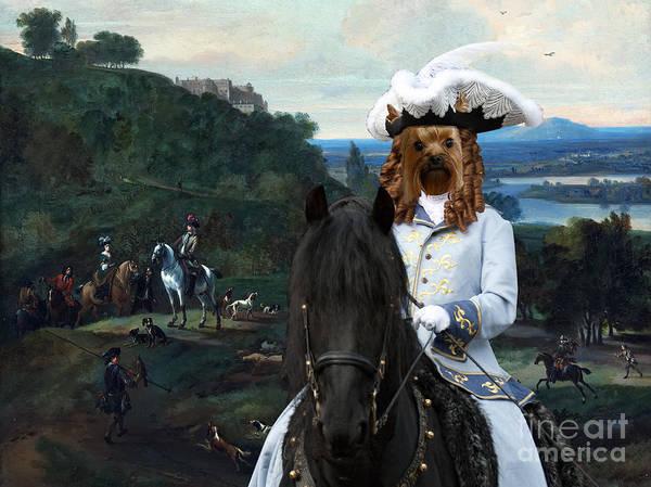 Wall Art - Painting - Yorkshire Terrier Art - Heron Hawking Below Stirling Castle by Sandra Sij