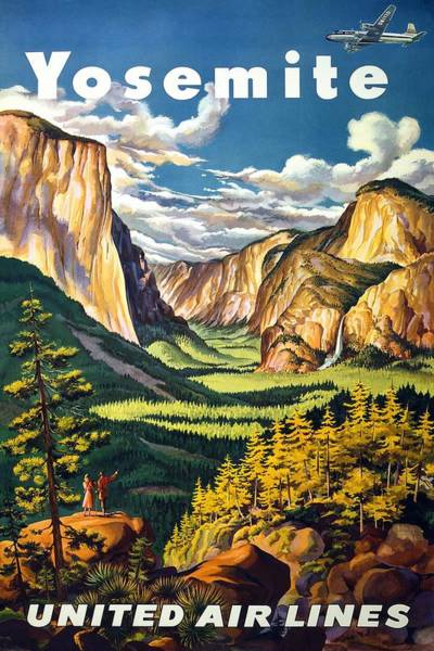 United Airlines Wall Art - Mixed Media - Yosemite, California - United Air Lines - Retro Travel Poster - Vintage Poster by Studio Grafiikka