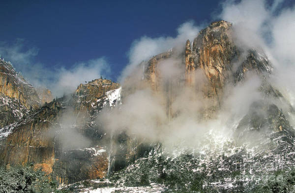 Photograph - Yosemite Falls And Lost Arrow Winter Storm Yosemite National Park California by Dave Welling