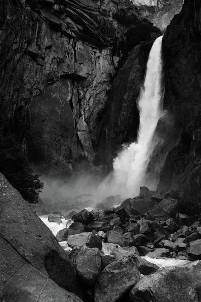 Photograph - Yosemite Falls Black White by Kyle Hanson
