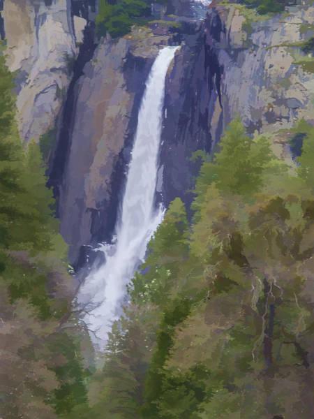 Wall Art - Photograph - Yosemite Falls Digital Watercolor by Bill Gallagher