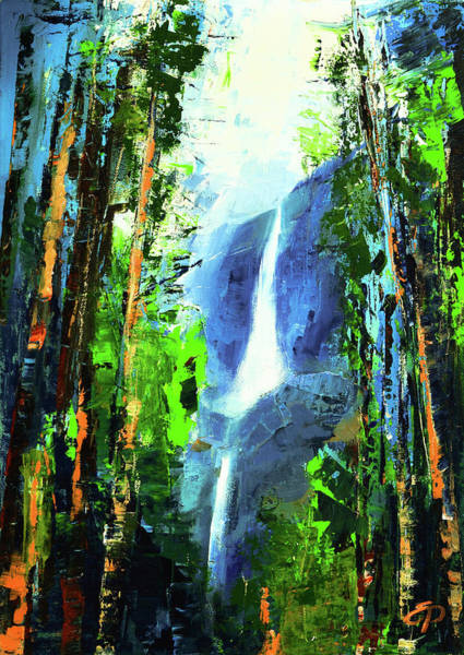 Mountain Lake Painting - Yosemite Falls by Elise Palmigiani