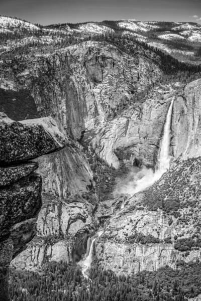 Wall Art - Photograph - Yosemite Falls From Glacier Point Bw by Tim Sullivan