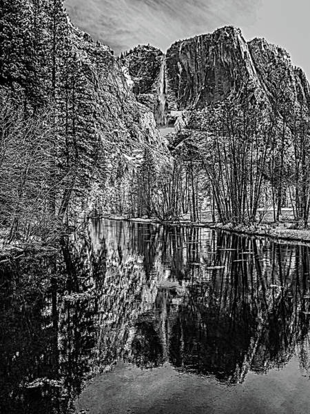 Wall Art - Photograph - Yosemite Falls From The Swinging Bridge In Black And White by Bill Gallagher