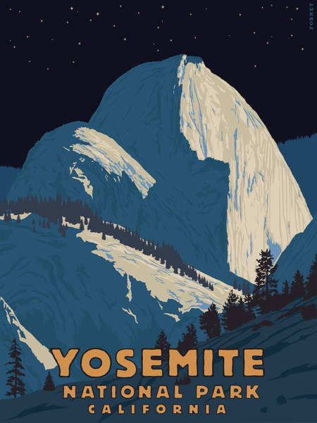 Hiking Digital Art - Yosemite Half Dome At Night by Steve Forney
