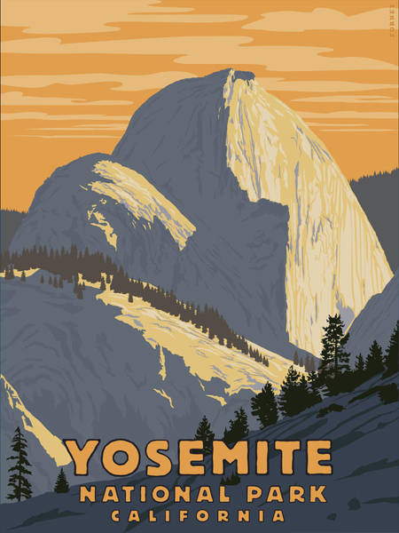 Hiking Digital Art - Yosemite Half Dome by Steve Forney