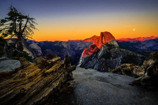 Full Moon Wall Art - Photograph - Yosemite National Park Glacier Point Half Dome Sunset by Scott McGuire