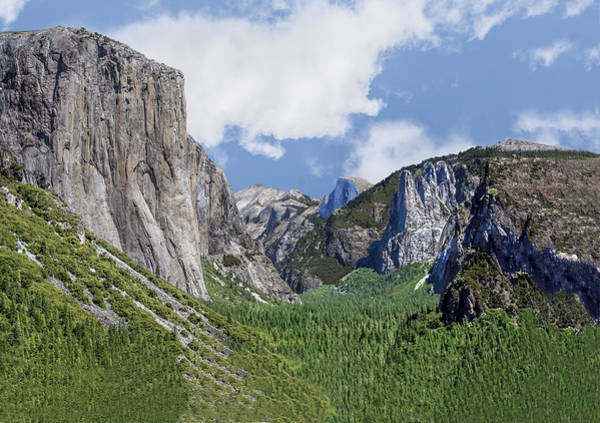 Photograph - Yosemite Valley Showing El Capitan Half Dome And The Three Brothers Formation by William Bitman