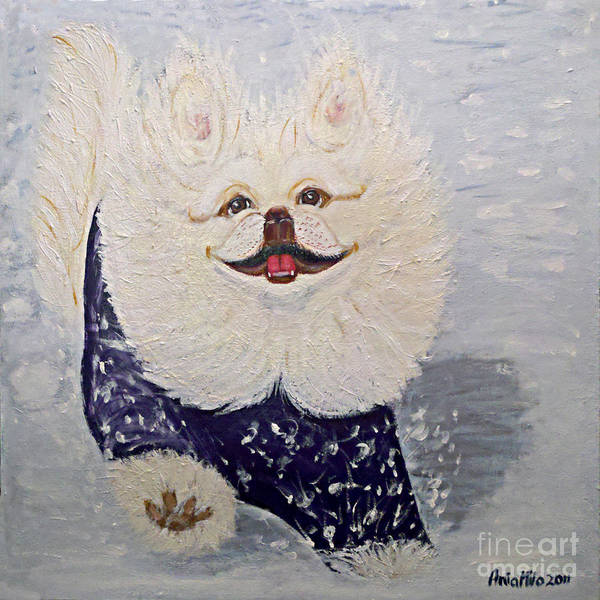 Painting - Yoshi The Pekiningese Snowsurfer by Ania M Milo