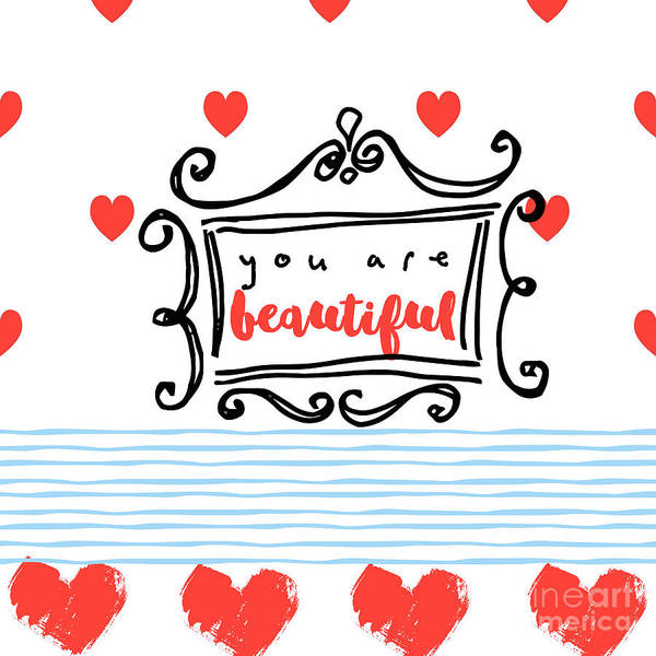 Scribble Painting - You Are Beautiful by Mindy Sommers