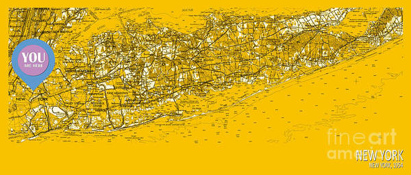 Are Digital Art - You Are Here New York Old Map Year 1954 by Drawspots Illustrations