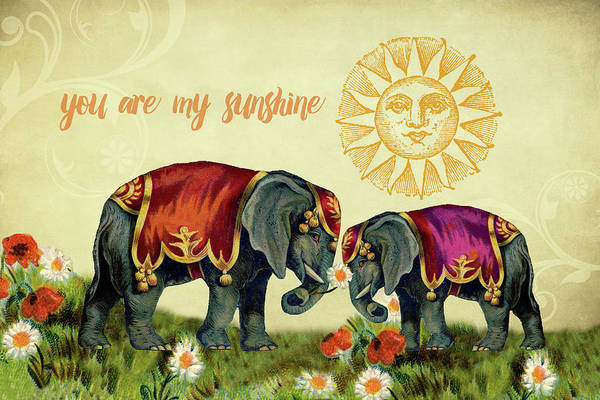 Digital Art - You Are My Sunshine Elephants by Peggy Collins