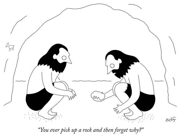 Memory Drawing - You Ever Pick Up A Rock And Then Forget Why by Seth Fleishman