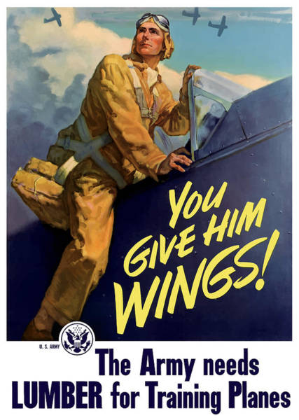 Air War Painting - You Give Him Wings - Ww2 by War Is Hell Store