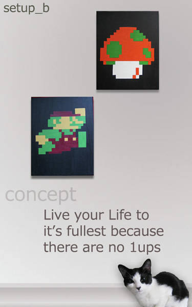 Videogame Painting - You Only Get 1up by Jay Aitchison