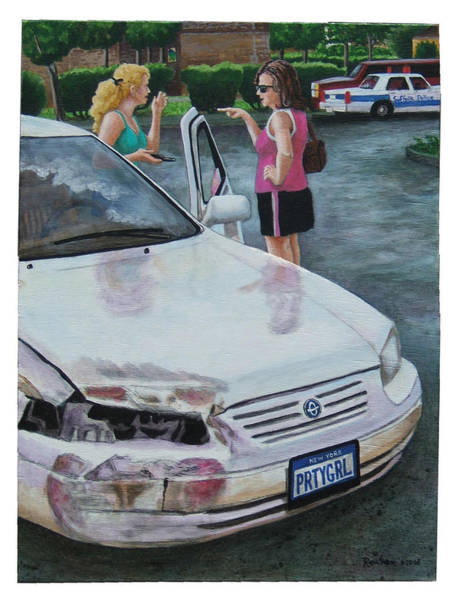 Car Accident Painting - You Stupid B...didn't You See Me Signal by Reuven Gayle