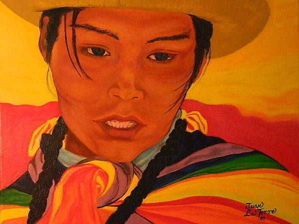 Tacoma Painting - Young Andean Woman by Juan  La Torre